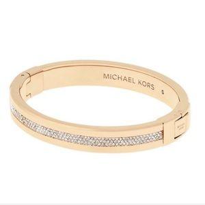 MK Gold Tone Crystal Hinged Bracelet